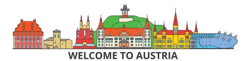 Österrike översiktshorisont, plan tunn linje symboler, gränsmärken, illustrationer för österrikare Österrike cityscape, österriki vektor illustrationer
