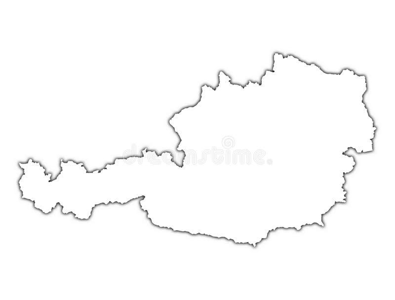 Österrike översiktsskugga vektor illustrationer