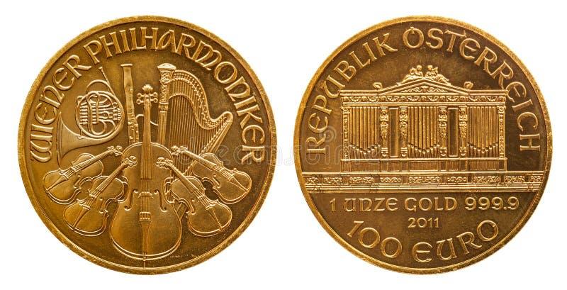 Österrike euro 1 uns för guld- mynt 100 royaltyfria bilder