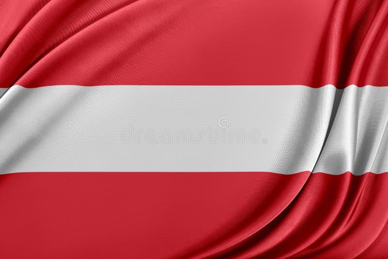 Österrike flagga med en glansig siden- textur vektor illustrationer