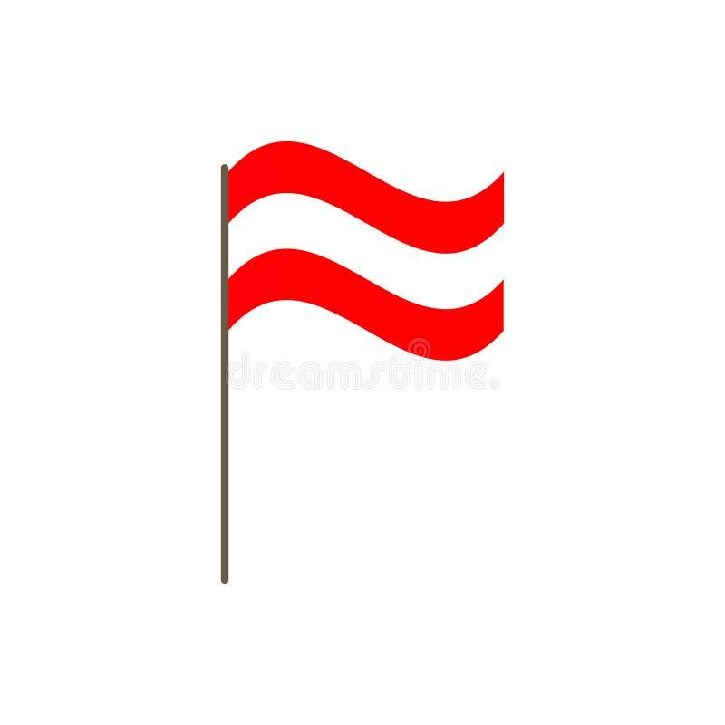 Österrike flagga på flaggstången Representantfärger och proportion korrekt Att vinka av den Österrike flaggan på flaggstång, vekt stock illustrationer