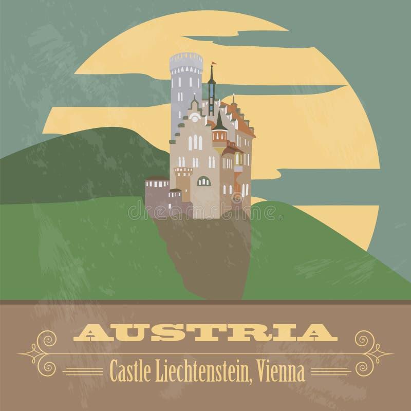 Österrike gränsmärken Retro utformad bild stock illustrationer