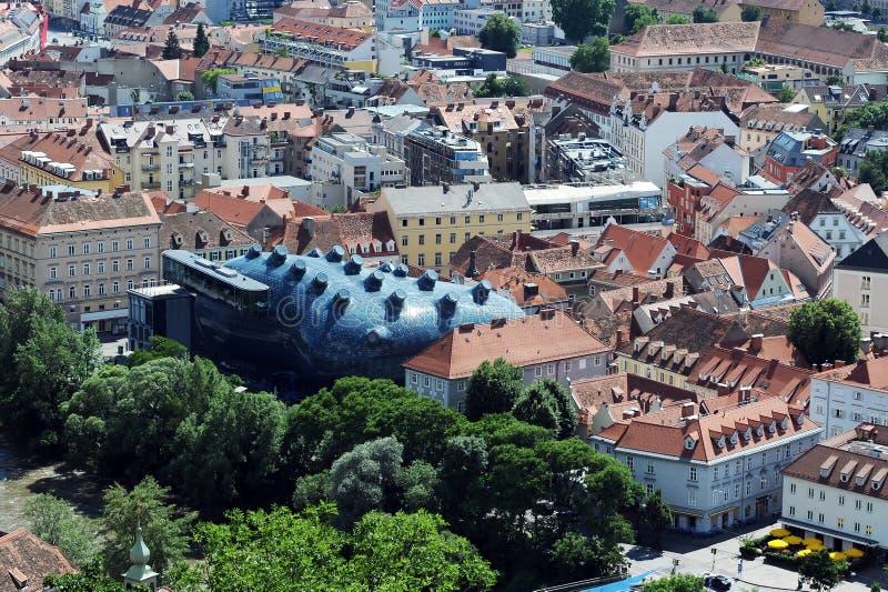 Österrike graz kunsthaus royaltyfri foto