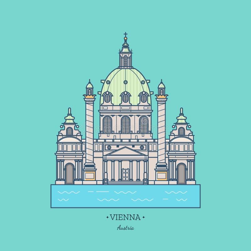 Österrike illustration, Karlskirche LoppWien symbol vektor illustrationer