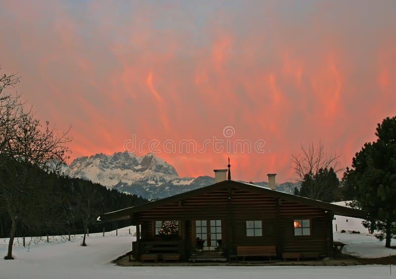 Österrike kitzbuhel solnedgång arkivbilder