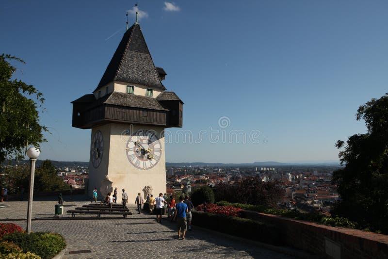 Österrike klockagraz torn fotografering för bildbyråer