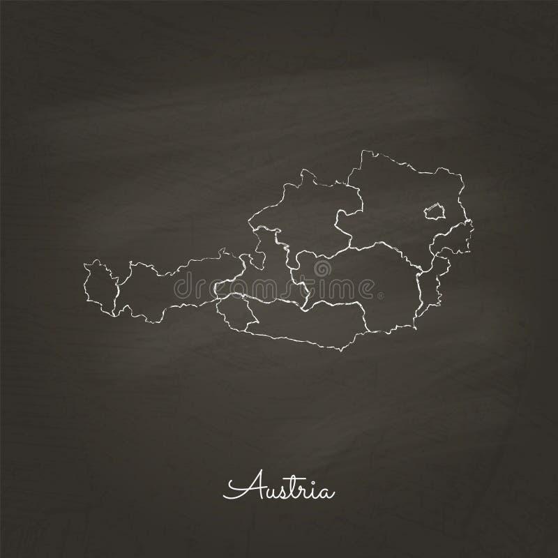 Österrike regionöversikt: hand som dras med vit krita vektor illustrationer