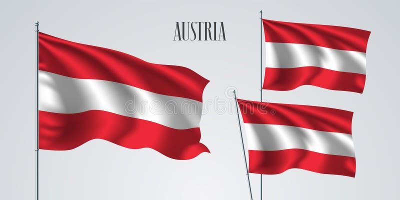 Österrike vinkande flaggauppsättning av vektorillustrationen vektor illustrationer