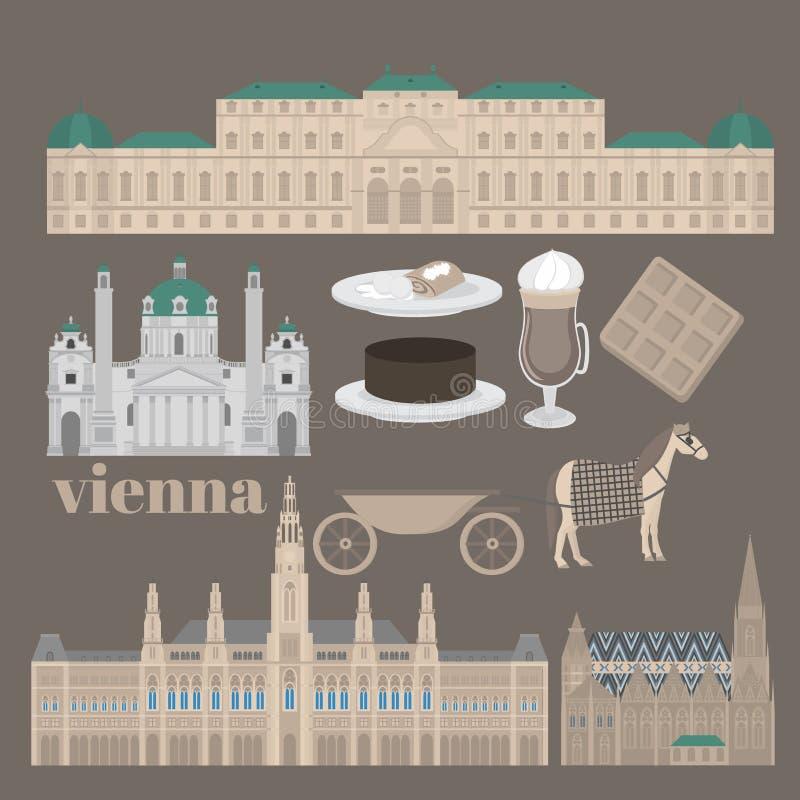 Österrikiska stadssikt i Wien Beståndsdelar Stephansdom, Karlskirche, Belvederepala för arkitektur för för Österrike gränsmärkelo stock illustrationer