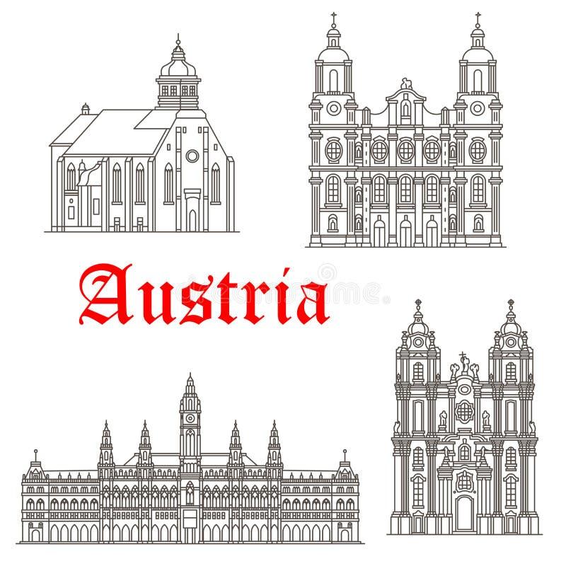 Österrikiska symboler för arkitekturbyggnadsvektor stock illustrationer
