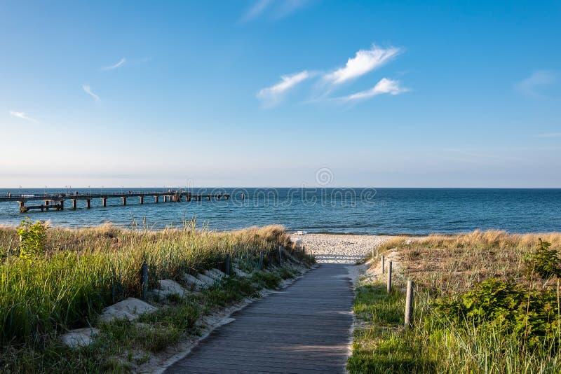 Östersjön kust med pir i Goehren, Tyskland arkivbilder