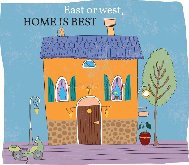 Östlich des Westens ist Haus am besten stock abbildung