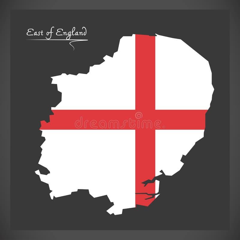 Östlich England-Karte mit Flagge von England-Illustration vektor abbildung
