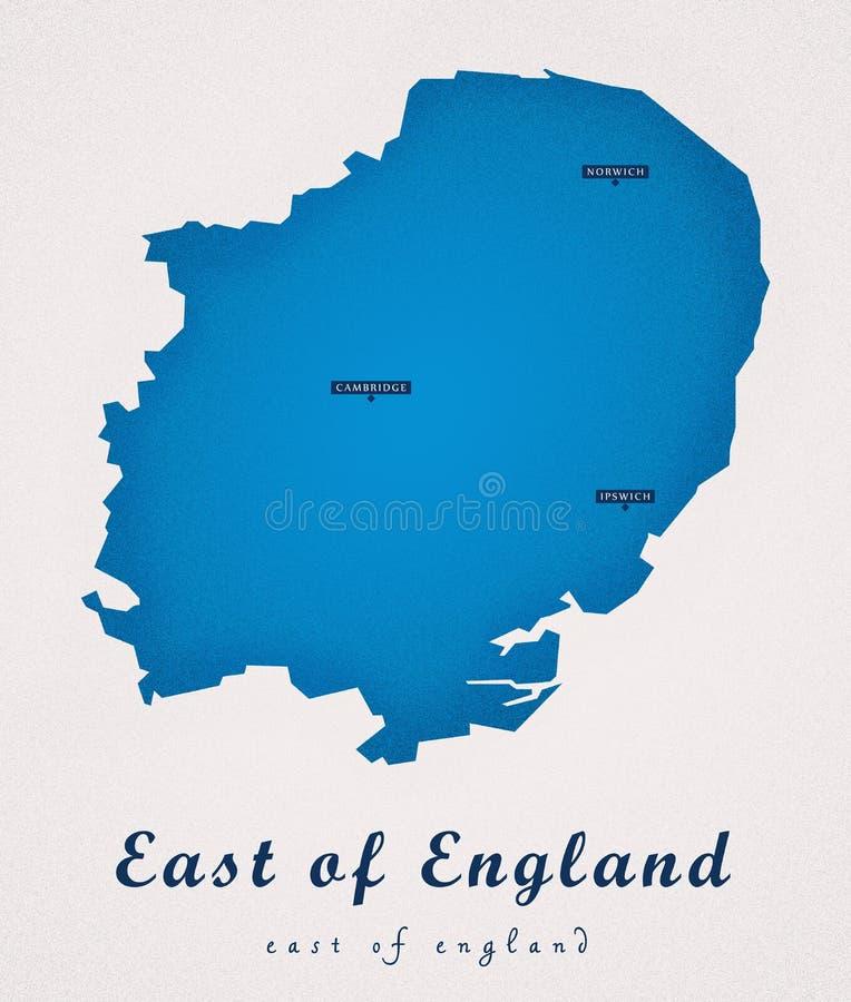 Östlich von England Art Map stock abbildung