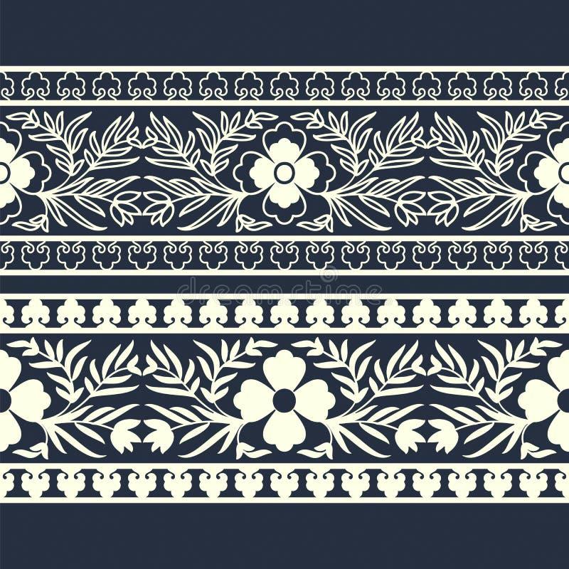 Östliche florish Schablone des Vektors Grenz entwerfen Sie für Abdeckungen, Druck, Holzschnitt, Karten stock abbildung