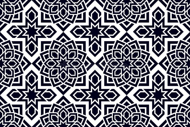 Östliches nahtloses Muster Arabisch wiederholter Hintergrund Traditionelle Tapete Schwarzweiss-Farben Dekorative Auslegung Auszug vektor abbildung