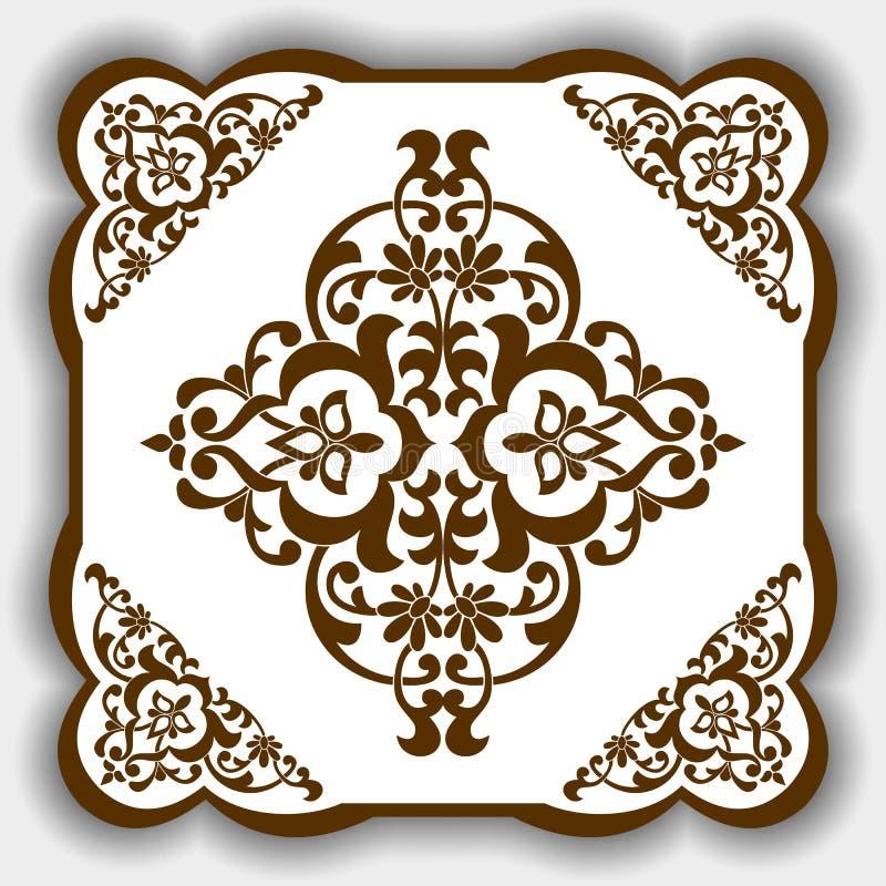 Östlig modell för vektor, Asien stil som en mall för tegelplattor, bakgrunder, räkningar, vykort, tapet, textiler vektor illustrationer