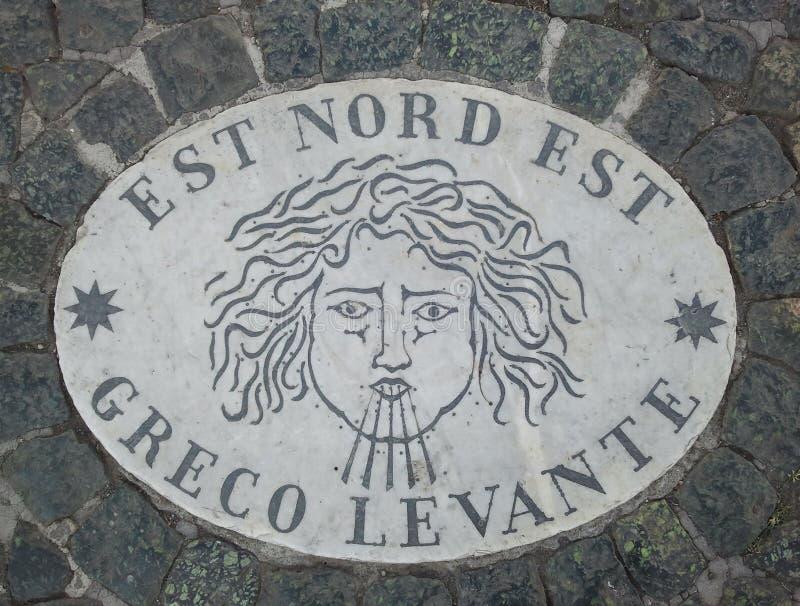 Östlig norr öst för Est Nord Est - ett huvud som symboliserar riktningen av vinden En forntida bild på en marmortjock skiva i St  royaltyfria foton