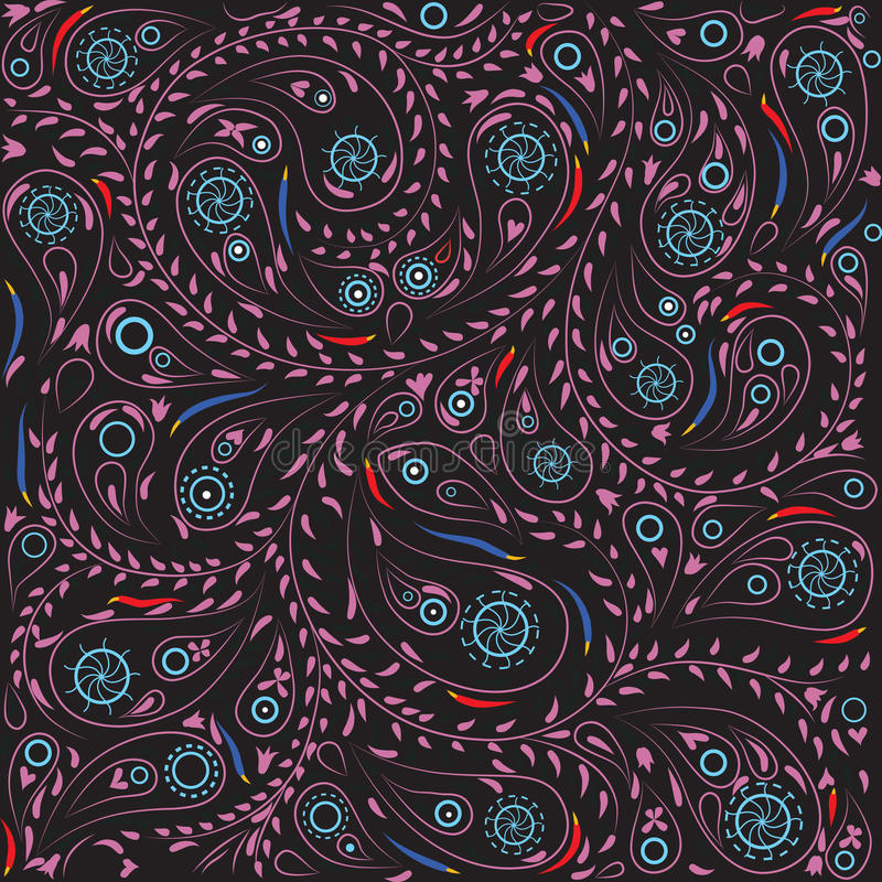 östlig paisley modell stock illustrationer