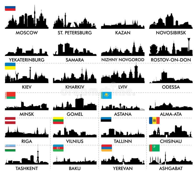 Östlig stadshorisont och Nordeuropa och central Asien stock illustrationer