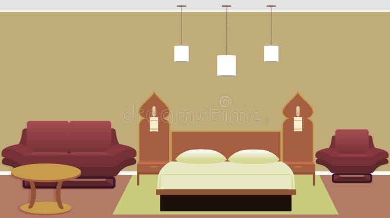 Östlig stilsovruminre med säng, soffa, fåtölj, tabell stock illustrationer