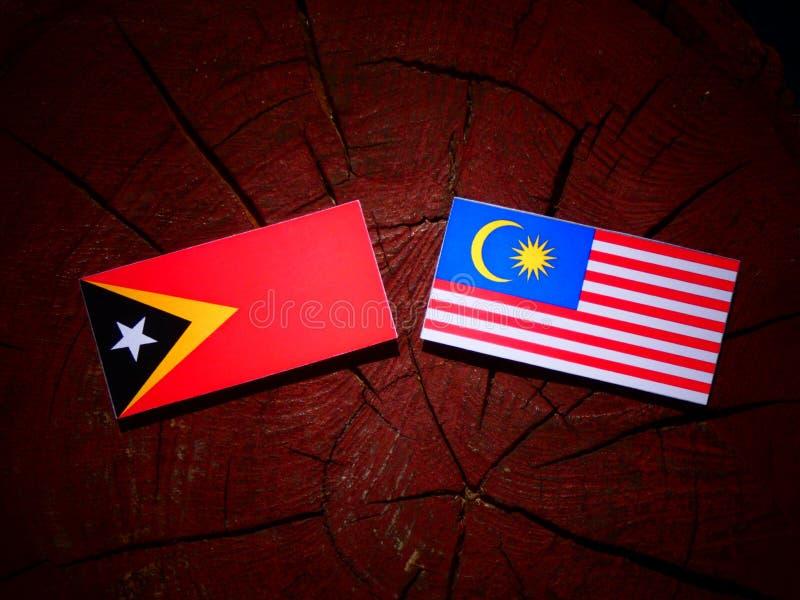 Östlig timoresisk flagga med den malaysiska flaggan på en isolerad trädstubbe royaltyfri illustrationer