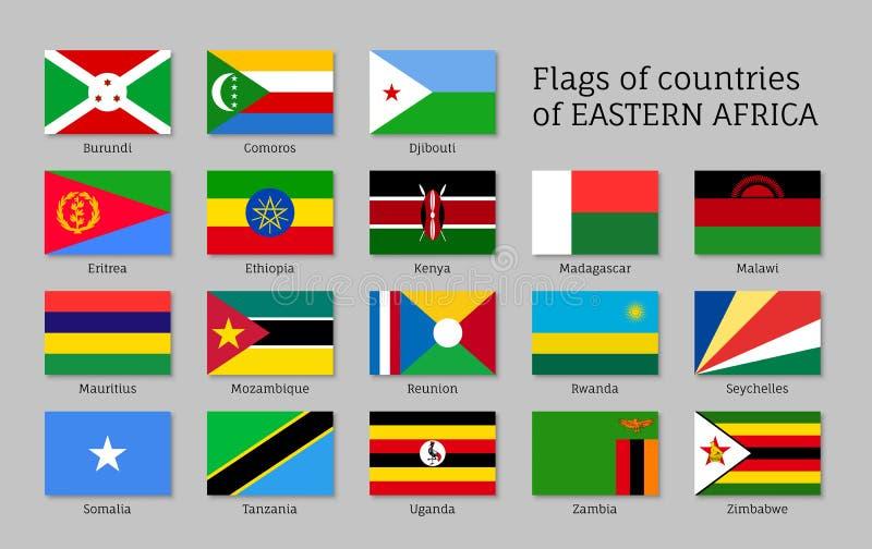 Östliga Afrika flaggor sänker symbolsuppsättningen royaltyfri illustrationer