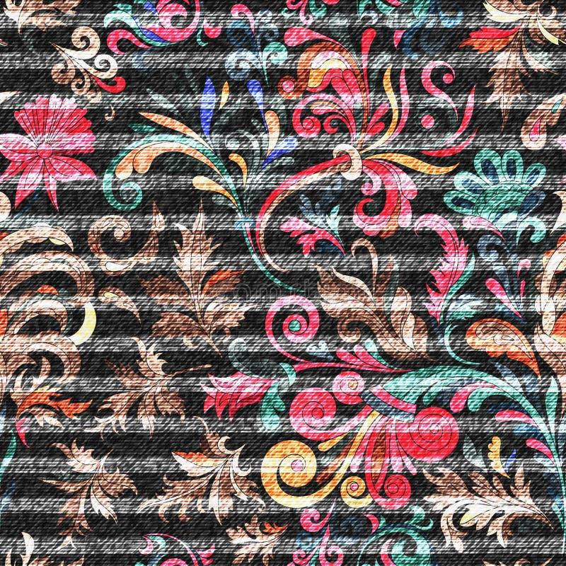 Östligt blom- sömlöst tryck på den randiga grov bomullstvillbakgrunden Det ljusa klottret blommar på ett mörker - grå bakgrund, f royaltyfri illustrationer