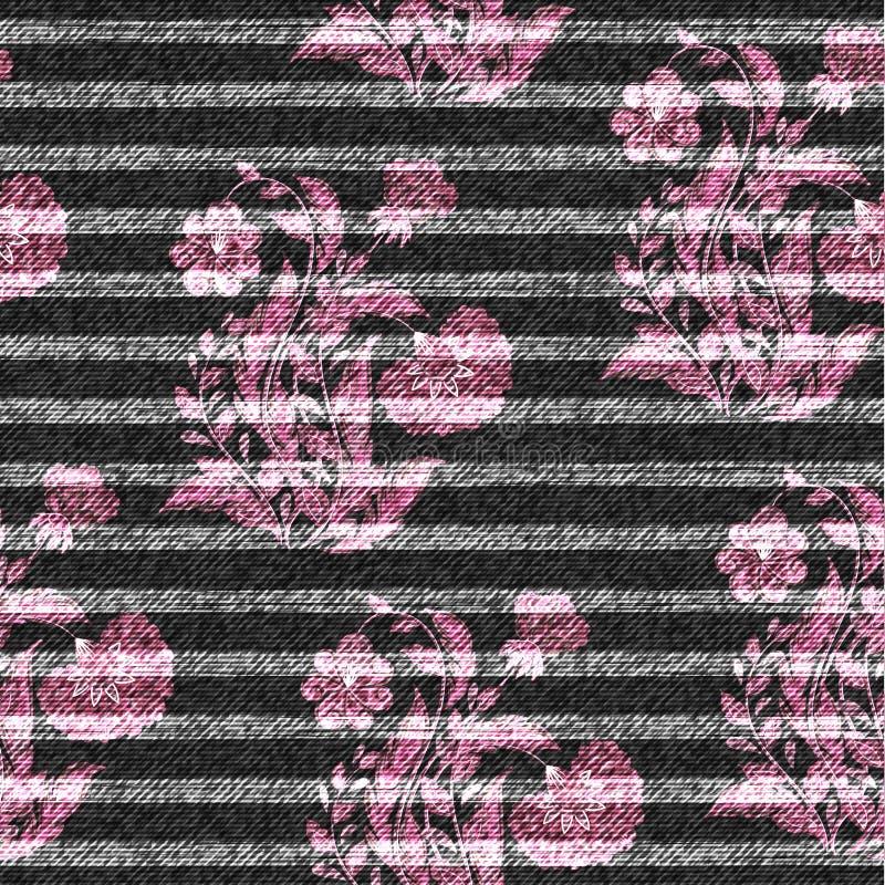 Östligt blom- sömlöst tryck på den randiga grov bomullstvillbakgrunden Rosa färger klottrar blommor på ett mörker - grå bakgrund, vektor illustrationer