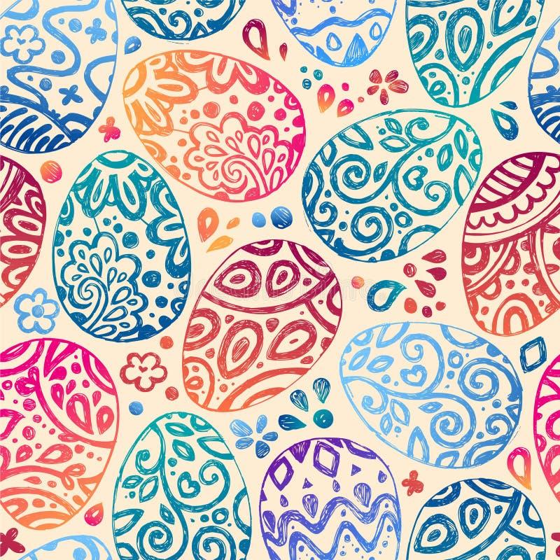 Östligt skissa ägg också vektor för coreldrawillustration Sömlös modell för vektor med färgrika ägg på BRUN bakgrund royaltyfri illustrationer