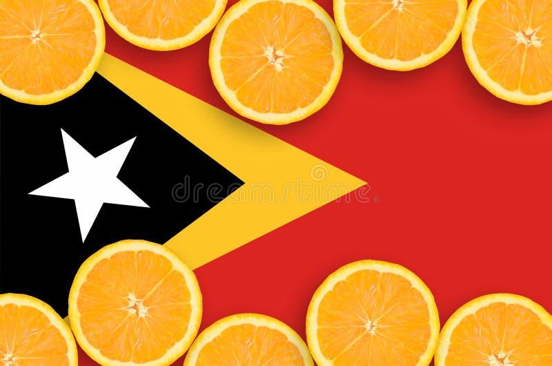 Östtimor flagga i citrusfruktskivahorisontalram arkivfoto