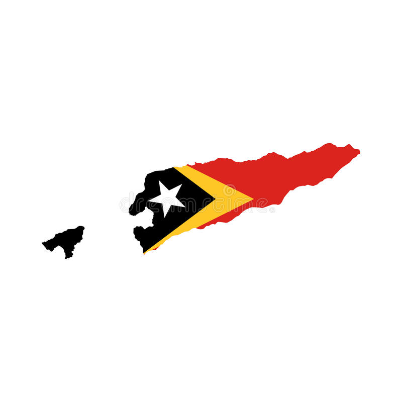 Östtimor flagga och översikt royaltyfri illustrationer
