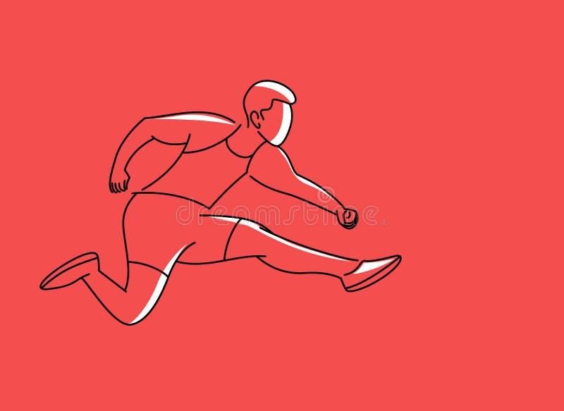Övande längdhopp för idrotts- man i friidrott stock illustrationer