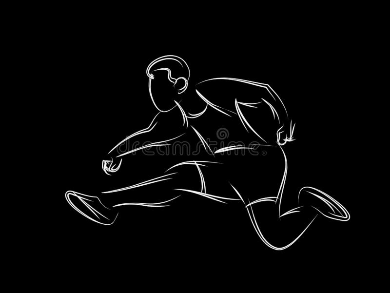 Övande längdhopp för idrotts- man i friidrott royaltyfri illustrationer