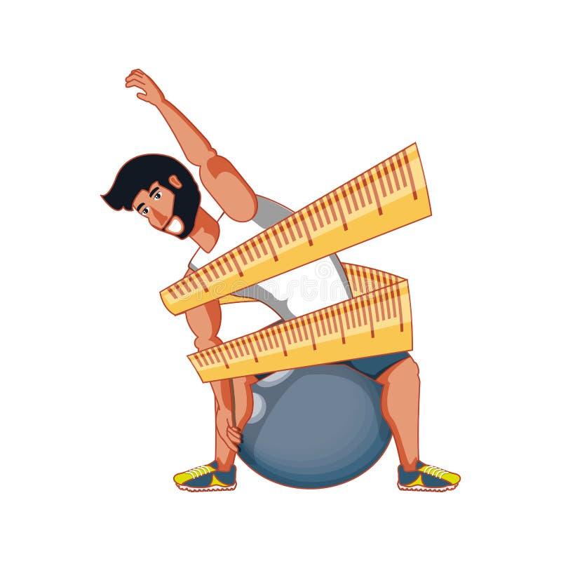 Övande pilates för idrotts- man med att mäta bandet stock illustrationer