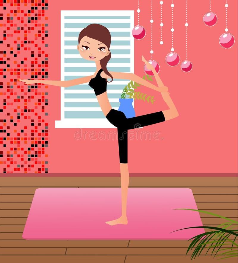 övande yoga för flicka royaltyfri illustrationer
