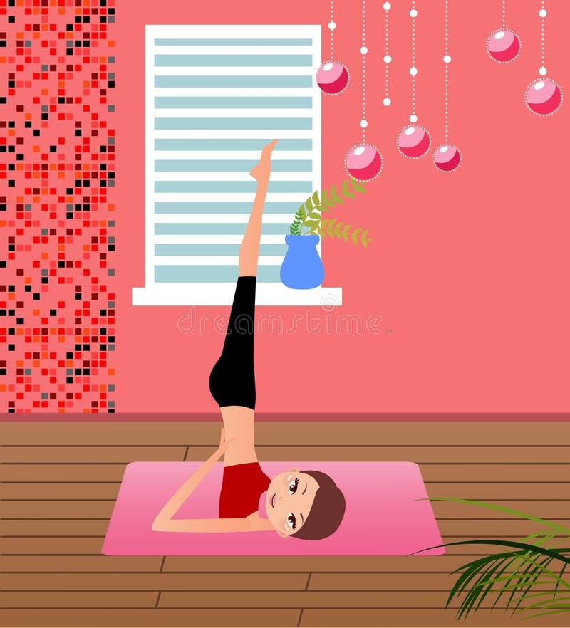 övande yoga för flicka vektor illustrationer