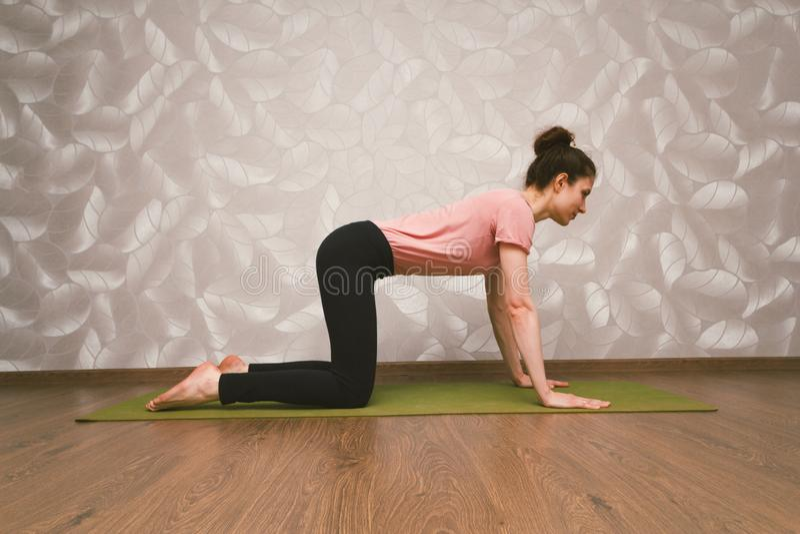 Övande yoga för kvinna, hem- genomkörarebegrepp royaltyfria bilder