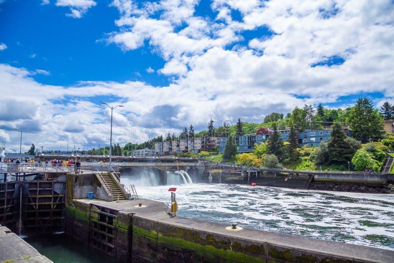 Över Ballard Locks royaltyfria bilder