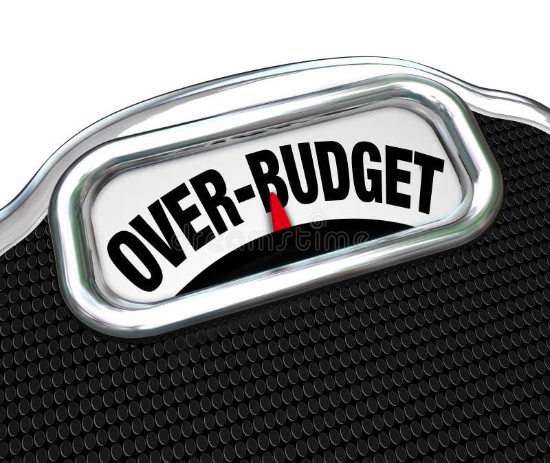 Över-budget ord på för problemskuld för skala finansiellt underskott stock illustrationer