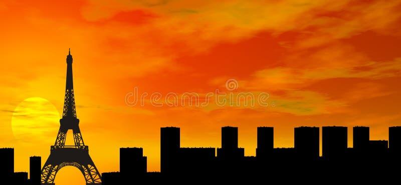 över den paris solnedgången stock illustrationer