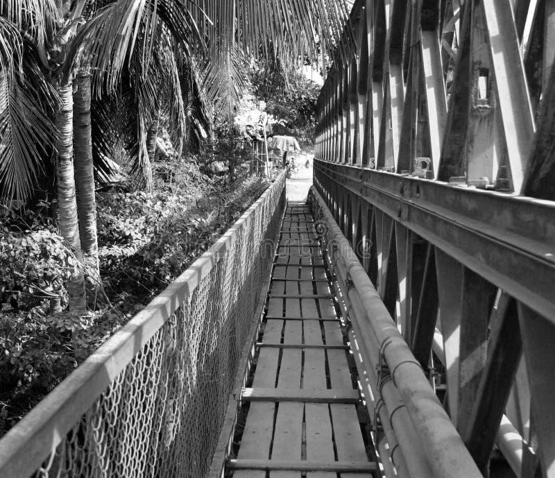 över för mekong för brolaos luang floden den gammala prabang arkivfoto
