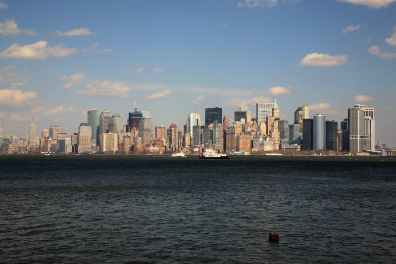 Över floden Hudson till Manhattan royaltyfri foto