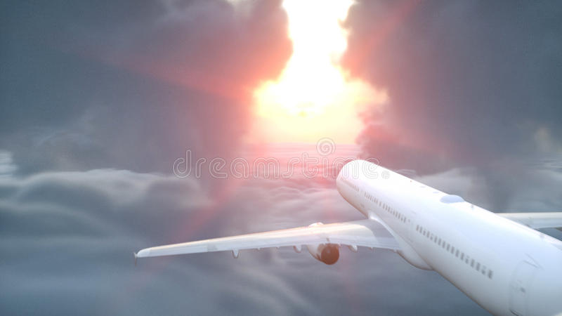 Över flyg- sikt för moln Flyga nivån Wonderfull solnedgång framförande 3d royaltyfri illustrationer