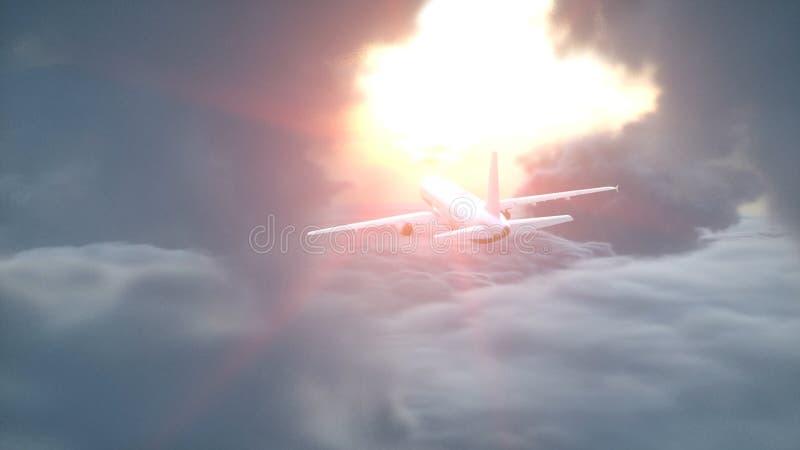 Över flyg- sikt för moln Flyga nivån Wonderfull solnedgång framförande 3d vektor illustrationer