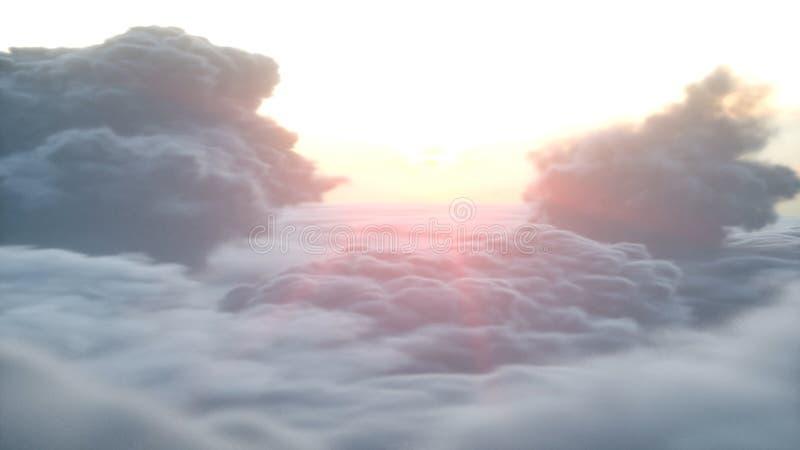 Över flyg- sikt för moln Wonderfull solnedgång framförande 3d royaltyfri illustrationer