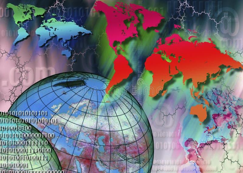 Över hela världen - internet - cyberspace vektor illustrationer