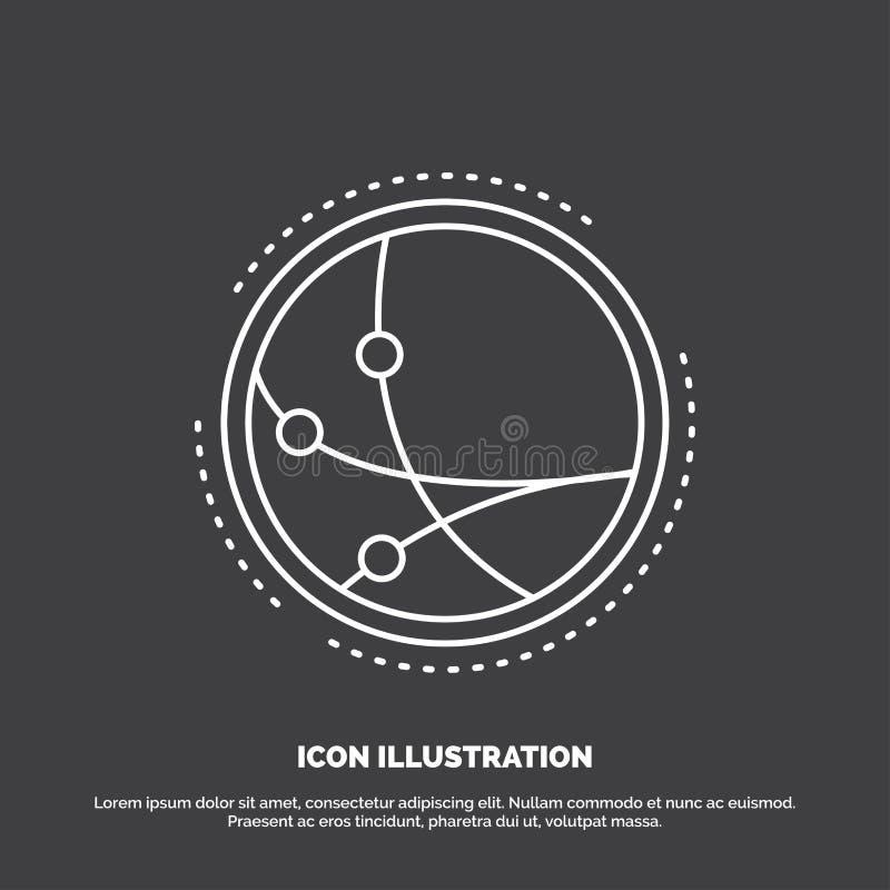 över hela världen kommunikation, anslutning, internet, nätverkssymbol Linje vektorsymbol f?r UI och UX, website eller mobil appli royaltyfri illustrationer