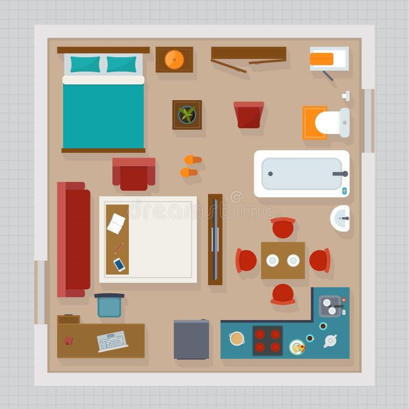 Över huvudet bästa sikt för detaljerat lägenhetmöblemang royaltyfri illustrationer
