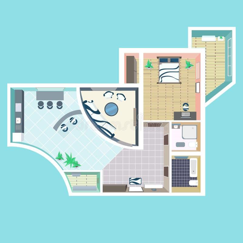 Över huvudet bästa sikt för detaljerat lägenhetmöblemang stock illustrationer